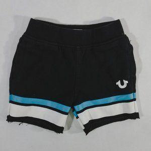 True Religion Black, White & Blue Striped Shorts